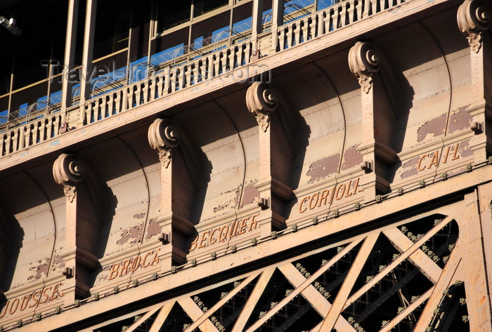 france522: Paris, France: Eiffel Tower / Tour Eiffel - Jousselin, Broca, Becquerel, Coriolis, Cail- five of the 72 engraved names of French scientists, engineers and industrialists - first level South-West side / Grenelle side - Champ de Mars, 7e arrondissement - photo by M.Torres - (c) Travel-Images.com - Stock Photography agency - Image Bank