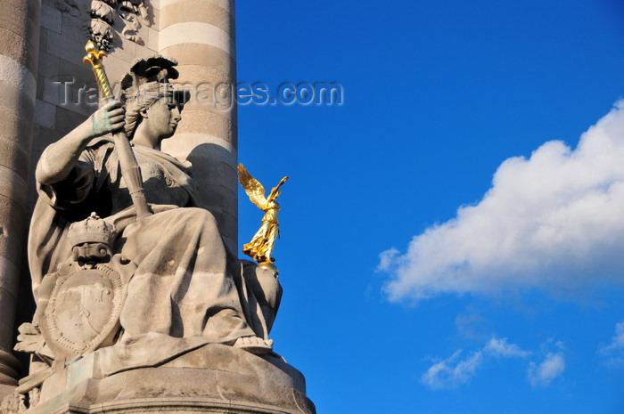 france534: Paris, France: Pont Alexandre III - La France de Louis XIV - sculpture by Laurent-Honoré Marqueste, Left Bank - photo by M.Torres - (c) Travel-Images.com - Stock Photography agency - Image Bank