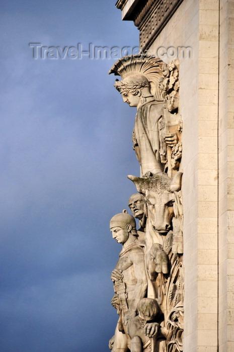 france554: aris, France: Arc de Triomphe - Place Charles de Gaulle - sculpture group 'La Paix de 1815' over the ashlar masonry, sculptor Antoine Etex - photo by M.Torres - (c) Travel-Images.com - Stock Photography agency - Image Bank