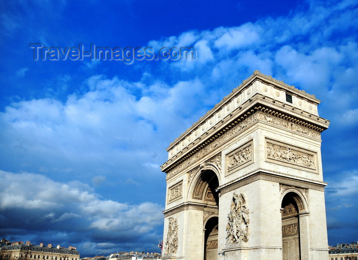 france557: Paris, France: Arc de Triomphe - Place Charles de Gaulle - commissioned in 1806 after the victory at Austerlitz by Napoleon, honours the soldiers of the French Revolutionary and the Napoleonic Wars - architects Jean Chalgrin, Louis-Étienne Héricart de Thury - photo by M.Torres - (c) Travel-Images.com - Stock Photography agency - Image Bank