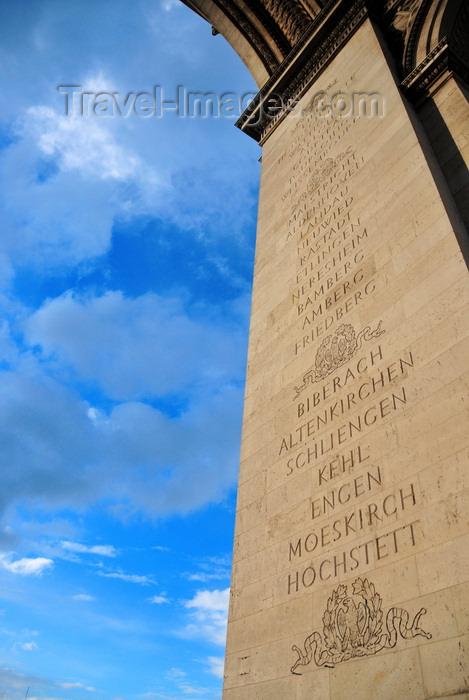 france561: Paris, France: Arc de Triomphe - Place Charles de Gaulle - battle names on a pillar - Lille, Hondschootte, Wattignies, Arlon, Courtrai, Tourcoing, Weissembourg - Maestricht, Aldenhoven, Landau, Neuwied, Rastadt, Etlingen, Neresheim, Bamberg, Amberg, Friedberg - Biberach, Altenkirchen, Schliengen, Kehl, Engen, Moeskirch, Hochstett - photo by M.Torres - (c) Travel-Images.com - Stock Photography agency - Image Bank