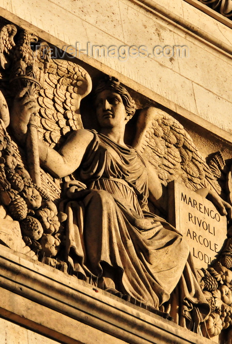 france563: Paris, France: Arc de Triomphe - Place Charles de Gaulle - archangel with shield listing battles - Marengo, Rivoli, Arcole, Lodi - attic above the frieze - photo by M.Torres - (c) Travel-Images.com - Stock Photography agency - Image Bank