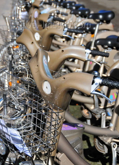 france569: Paris, France: bikes at a Vélib' station, the city's public bicycle sharing system - bikes are made by Mercier - photo by M.Torres - (c) Travel-Images.com - Stock Photography agency - Image Bank