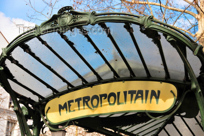 paris france art nouveau entrace to metro station abbesses line