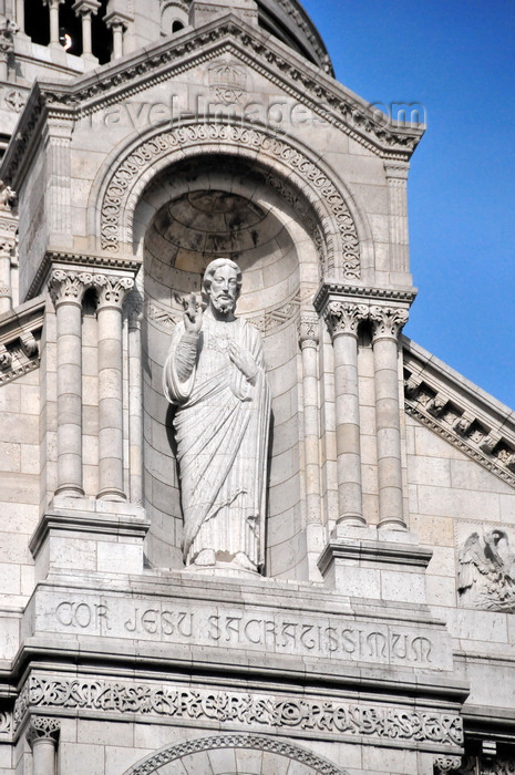 france576: Paris, France: Sacré-Coeur Basilica / Basilica of the Sacred Heart - statue of Christ, showing his heart, by Gustave Michel - niche in the pediment of the Romano-Byzantine style façade - 'Rex', 'Cor Jesu Sacratissimum', 'Miserere nobis' - Montmartre district, 18e arrondissement - photo by M.Torres - (c) Travel-Images.com - Stock Photography agency - Image Bank