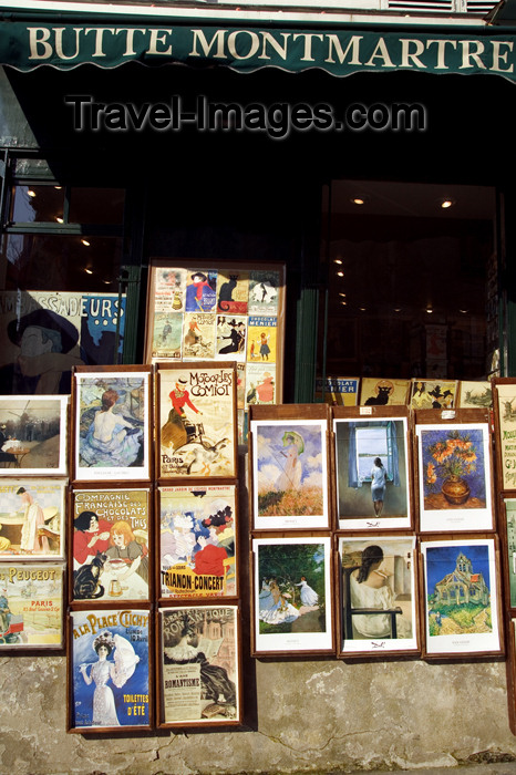 france665: Paris, France: Montmartre - prints shop - 18th arrondissement - Right Bank - photo by Y.Guichaoua - (c) Travel-Images.com - Stock Photography agency - Image Bank