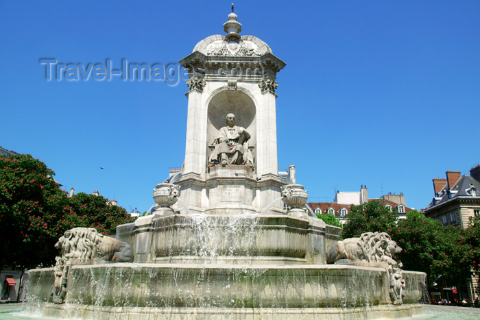france687: Paris, France: Place du Saint-Sulpice fountain - Fountain of the Four Bishops - Statue of Massillon - architect Joachim Visconti - VIe arrondissement - photo by Y.Guichaoua - (c) Travel-Images.com - Stock Photography agency - Image Bank
