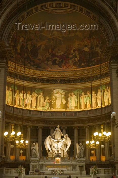 france755: Paris, France: Madeleine church - altar - statue by Charles Marochetti, fresco by Jules-Claude Ziegler - rue Royale - 8ème arrondissement - photo by Y.Guichaoua - (c) Travel-Images.com - Stock Photography agency - Image Bank