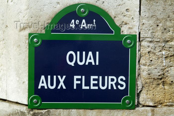 france766: Paris, France: sign - Quai aux Fleurs - photo by Y.Guichaoua - (c) Travel-Images.com - Stock Photography agency - Image Bank