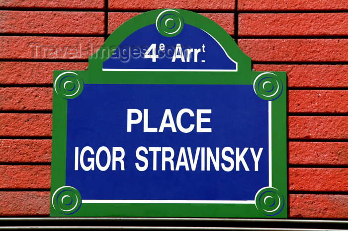 france782: Paris, France: Place Igor Stravinsky - sign - photo by Y.Guichaoua - (c) Travel-Images.com - Stock Photography agency - Image Bank