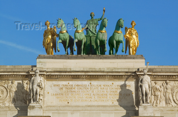 france788: Paris: Arc de Triomphe du Carrousel - quadriga sculpted by Baron François Joseph Bosio - Peace riding in a triumphal chariot, commemorates the Restoration of the Bourbons - photo by Y.Guichaoua - (c) Travel-Images.com - Stock Photography agency - Image Bank