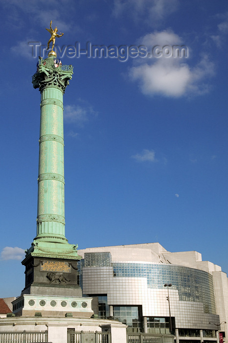france793: Paris, France:  Colonne de Juillet / July Column - architect Jean-Antoine Alavoine - Place de la Bastille and Opera (4e, 11e and 12e) - photo by Y.Guichaoua - (c) Travel-Images.com - Stock Photography agency - Image Bank