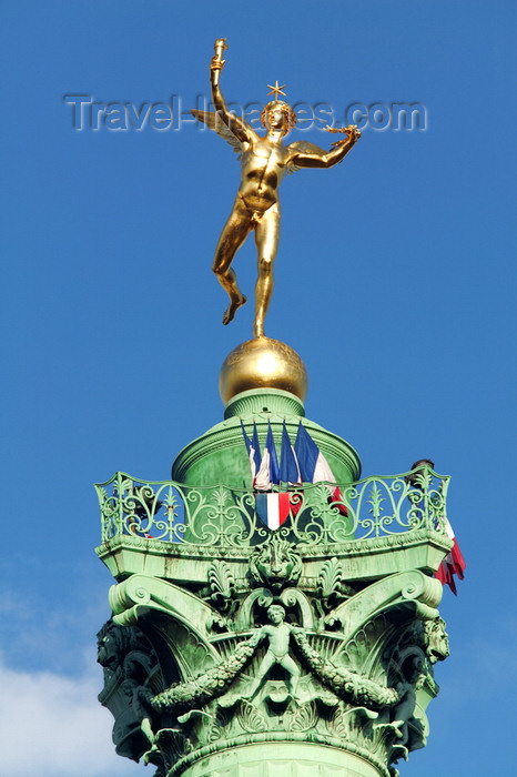 france794: Paris, France: Place de la Bastille - Colonne de Juillet - monument to the Revolution of 1830 - Génie de la Liberté - gilded bronze by Auguste Dumont - photo by Y.Guichaoua - (c) Travel-Images.com - Stock Photography agency - Image Bank