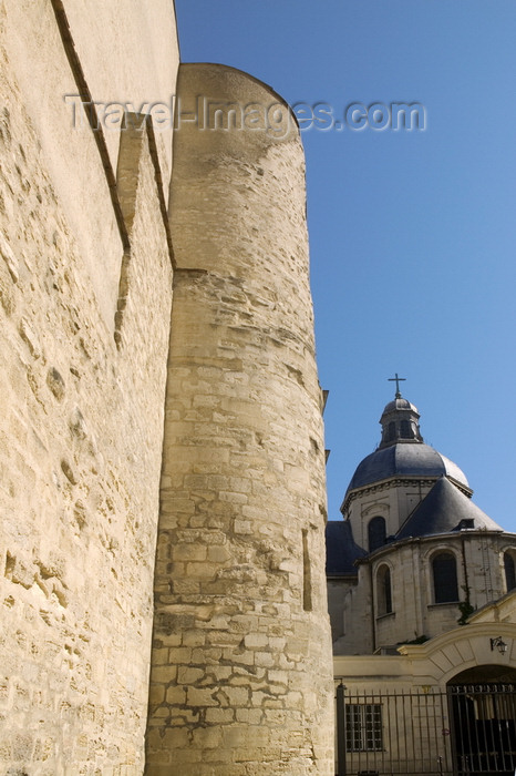 france803: Paris, France: Medieval fortification of King Philippe Auguste - medieval ramparts, Montgomery tower and church of Saint-Paul-Saint-Louis - Rue des Jardins St Paul - Le Marais - 4ème arrondissement - photo by Y.Guichaoua - (c) Travel-Images.com - Stock Photography agency - Image Bank