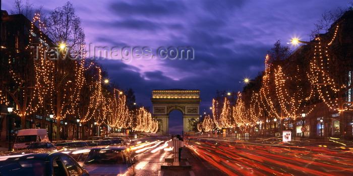 france936: Paris, France: Christmas illuminations and car lights along Avenue des Champs-Élysées - Arc de Triomphe at dusk - 8e arrondissement - photo by A.Bartel - (c) Travel-Images.com - Stock Photography agency - Image Bank