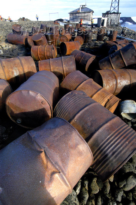 franz-josef12: Franz Josef Land Abandoned oil drums, polar station Thikaya, Hooker Island - Arkhangelsk Oblast, Northwestern Federal District, Russia - photo by Bill Cain - (c) Travel-Images.com - Stock Photography agency - Image Bank