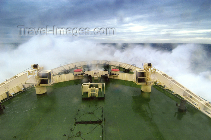franz-josef26: Franz Josef Land Bow of ship Kapitan Dranitsyn in storm, Barents Sea - Arkhangelsk Oblast, Northwestern Federal District, Russia - photo by Bill Cain - (c) Travel-Images.com - Stock Photography agency - Image Bank