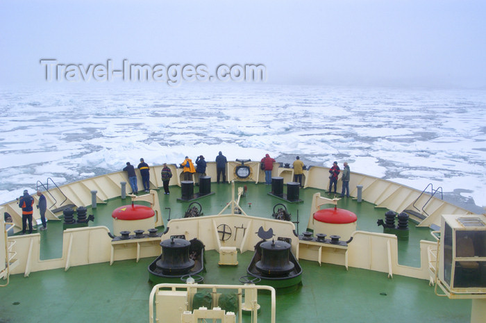 franz-josef27: Franz Josef Land Bow of ship Kapitan Dranitsyn with passengers - Arkhangelsk Oblast, Northwestern Federal District, Russia - photo by Bill Cain - (c) Travel-Images.com - Stock Photography agency - Image Bank