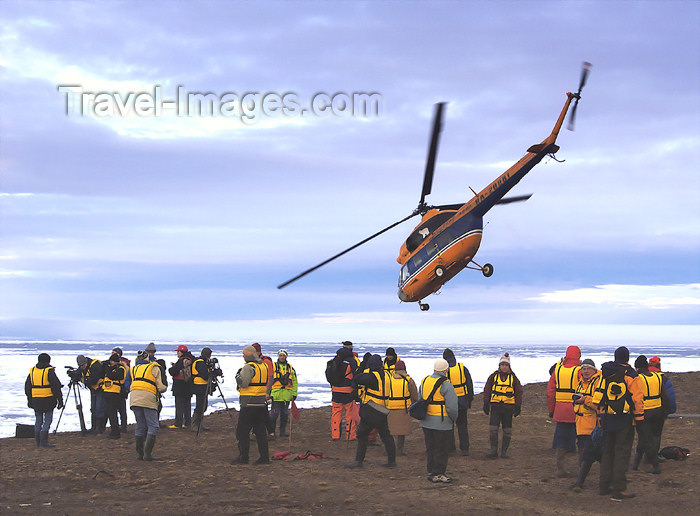 franz-josef32: Franz Josef Land Helicopter flying over passengers, Rudolf Island - Arkhangelsk Oblast, Northwestern Federal District, Russia - photo by Bill Cain - (c) Travel-Images.com - Stock Photography agency - Image Bank