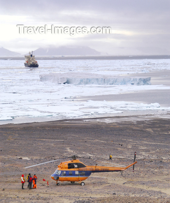 franz-josef33: Franz Josef Land Helicopter on ground with ship in background, Champ Is - Arkhangelsk Oblast, Northwestern Federal District, Russia - photo by Bill Cain - (c) Travel-Images.com - Stock Photography agency - Image Bank
