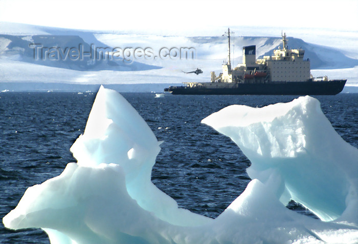 franz-josef39: Franz Josef Land Iceberg and ship with landing helicopter, Bell Island - Arkhangelsk Oblast, Northwestern Federal District, Russia - photo by Bill Cain - (c) Travel-Images.com - Stock Photography agency - Image Bank