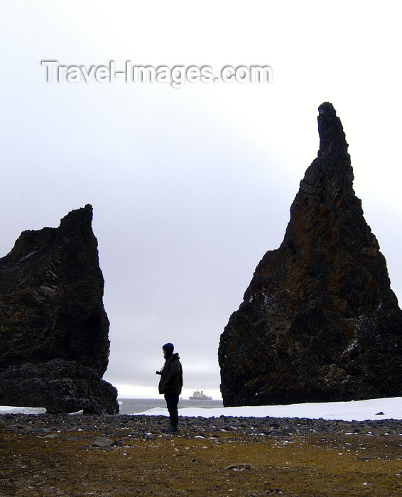franz-josef4: Franz Josef Land - Hall Island: Twin spires, person at Cape Tegethoff (photo by Bill Cain) - (c) Travel-Images.com - Stock Photography agency - Image Bank