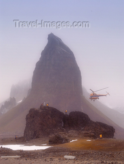 franz-josef46: Franz Josef Land Mountain, people, helicopter at Cape Tegethoff, Hall Is - Arkhangelsk Oblast, Northwestern Federal District, Russia - photo by Bill Cain - (c) Travel-Images.com - Stock Photography agency - Image Bank