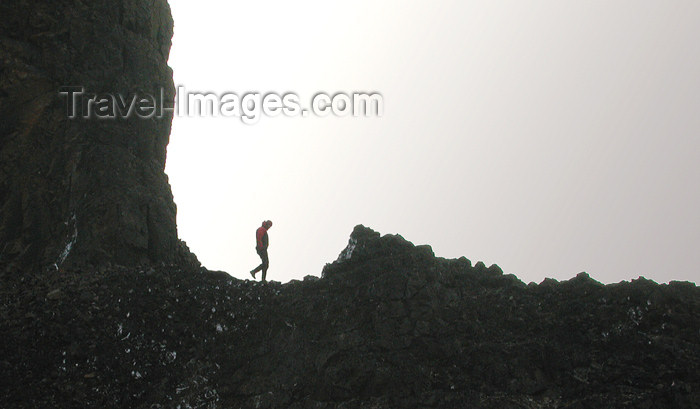 franz-josef54: Franz Josef Land Person hiking on twin spires, Cape Tegethoff, Hall Island - Arkhangelsk Oblast, Northwestern Federal District, Russia - photo by Bill Cain - (c) Travel-Images.com - Stock Photography agency - Image Bank