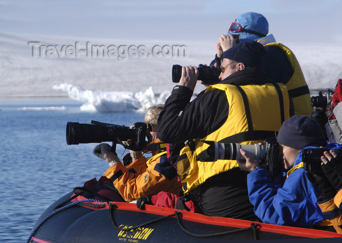 franz-josef57: Franz Josef Land Photographers with cameras, in zodiac - Arkhangelsk Oblast, Northwestern Federal District, Russia - photo by Bill Cain - (c) Travel-Images.com - Stock Photography agency - Image Bank
