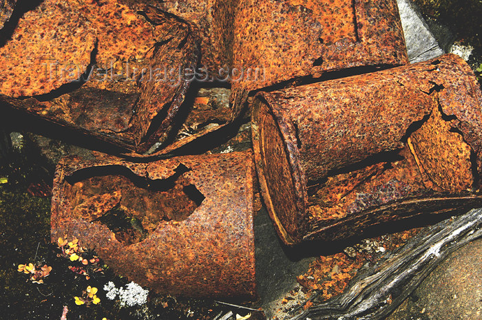 franz-josef72: Franz Josef Land Rusty cans at abondoned polar station Thikaya, Hooker Is - Arkhangelsk Oblast, Northwestern Federal District, Russia - photo by Bill Cain - (c) Travel-Images.com - Stock Photography agency - Image Bank