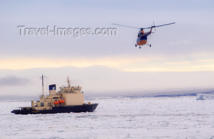 franz-josef73: Franz Josef Land Ship Kapitan Dranitsyn & helicopter - Arkhangelsk Oblast, Northwestern Federal District, Russia - photo by Bill Cain - (c) Travel-Images.com - Stock Photography agency - Image Bank