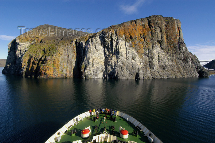 franz-josef8: Franz Josef Land - Rubini Rock and bow of ship (photo by Bill Cain) - (c) Travel-Images.com - Stock Photography agency - Image Bank