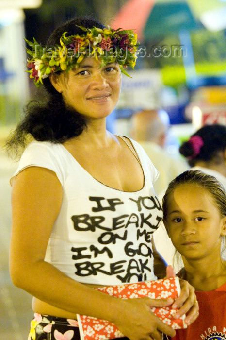 french-polynesia7: Papeete, Tahiti, French Polynesia: portrait of a Tahitian woman wearing a flower garland and her daughter - photo by D.Smith - (c) Travel-Images.com - Stock Photography agency - Image Bank