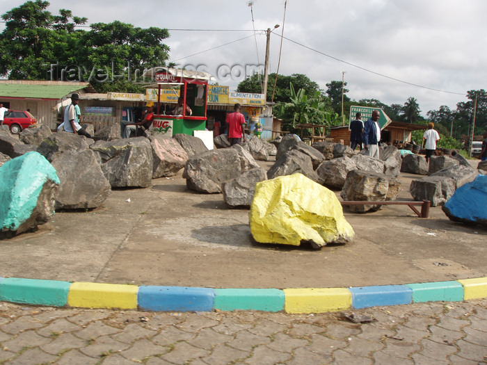 gabon14: Oyem, Woleu-Ntem province, Gabon: rocky roundabout - boulders - photo by B.Cloutier - (c) Travel-Images.com - Stock Photography agency - Image Bank