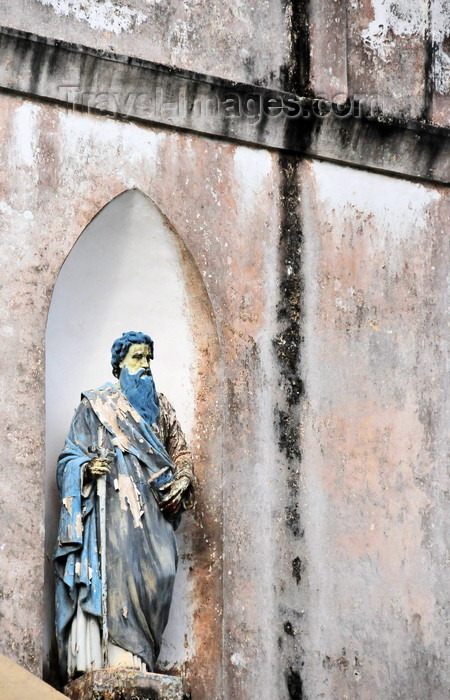 gabon28: Libreville, Estuaire Province, Gabon: St. Paul holding a book, preaching the Gospel - niche on the façade of the old Saint Mary's cathedral - Notre-Dame de Neiges - photo by M.Torres - (c) Travel-Images.com - Stock Photography agency - Image Bank