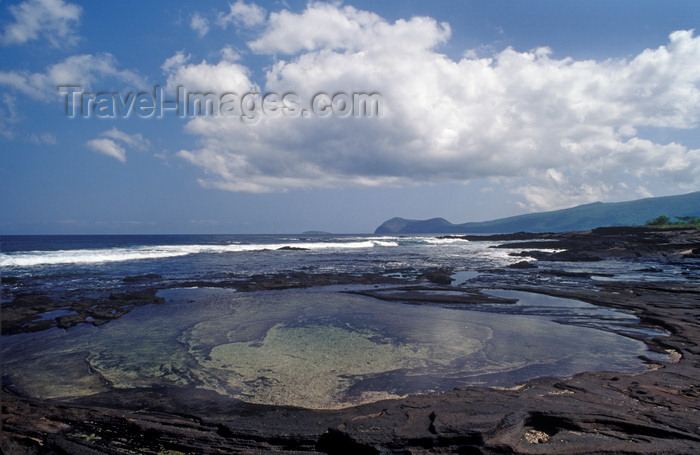 galapagos64: Santiago Island, Galapagos Islands, Ecuador: shallow pools of water on James Bay - lava along the coast - photo by C.Lovell - (c) Travel-Images.com - Stock Photography agency - Image Bank