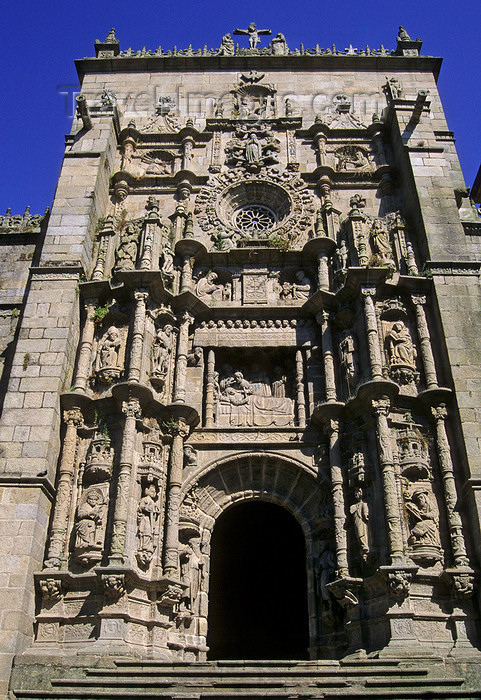 galicia72: Galicia / Galiza - Pontevedra: facade of the 18th century basilica of Santa Maria la Mayor - photo by S.Dona' - (c) Travel-Images.com - Stock Photography agency - Image Bank