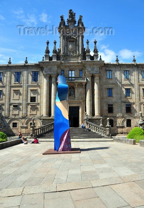 galicia9: Santiago de Compostela, Galicia / Galiza, Spain: San Martiño Pinario convent and modern art - Praza da Inmaculada - photo by M.Torres - (c) Travel-Images.com - Stock Photography agency - Image Bank