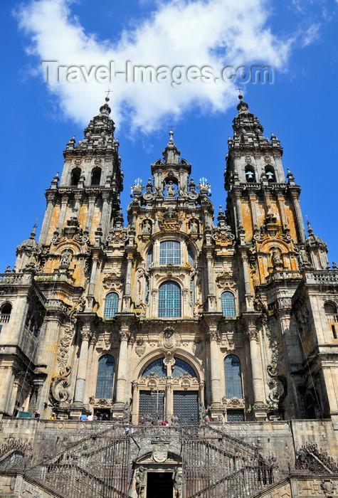 galicia93: Santiago de Compostela, Galicia / Galiza, Spain: the Cathedral - lavish baroque western façade - Churrigueresque style - photo by M.Torres - (c) Travel-Images.com - Stock Photography agency - Image Bank