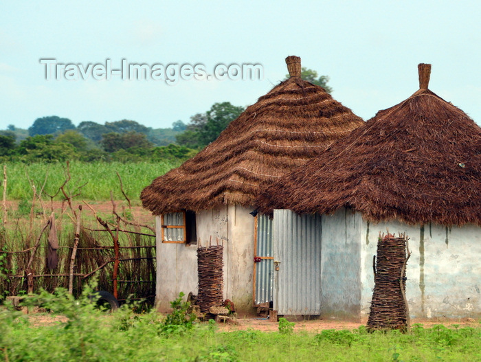 gambia117: Fass, North Bank division, Gambia: rural area - village huts with thatched roofs and corrugated metal doors - photo by M.Torres - (c) Travel-Images.com - Stock Photography agency - Image Bank