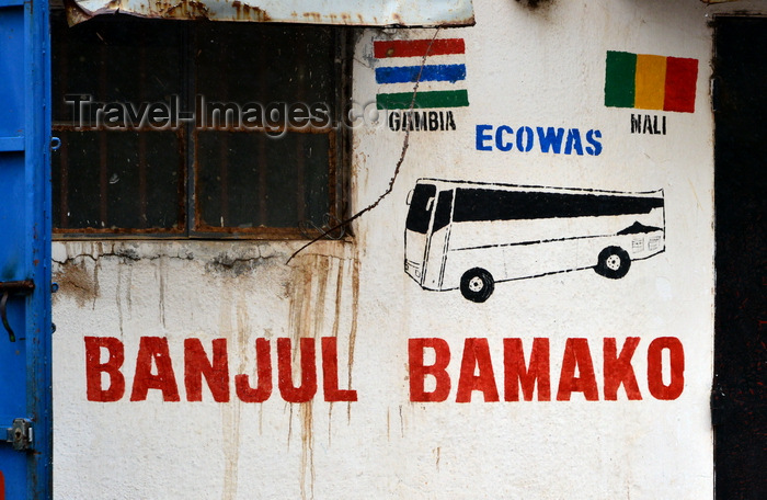 gambia6: Banjul, The Gambia: the unpretentious Bamako bus station - first stop for many illegal migrants trying to reach Europe - Ecowas avenue - photo by M.Torres - (c) Travel-Images.com - Stock Photography agency - Image Bank