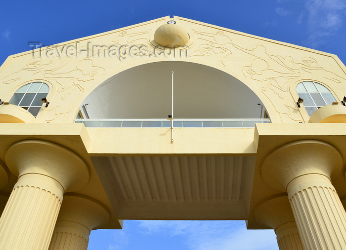 gambia60: Banjul, The Gambia: triumphal arch at the entrance to the capital seen from below - Arch 22 - designed by Senegalese architect, Pierre Goudiaby - photo by M.Torres - (c) Travel-Images.com - Stock Photography agency - Image Bank