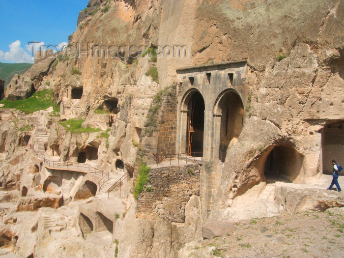 georgia105: Georgia - Vardzia - Samtskhe-Javakheti region: Medieval cave city, hewn into the side of the rocks of Mt Erusheti - Lesser Caucasus Mountains - photo by L.McKay - (c) Travel-Images.com - Stock Photography agency - Image Bank
