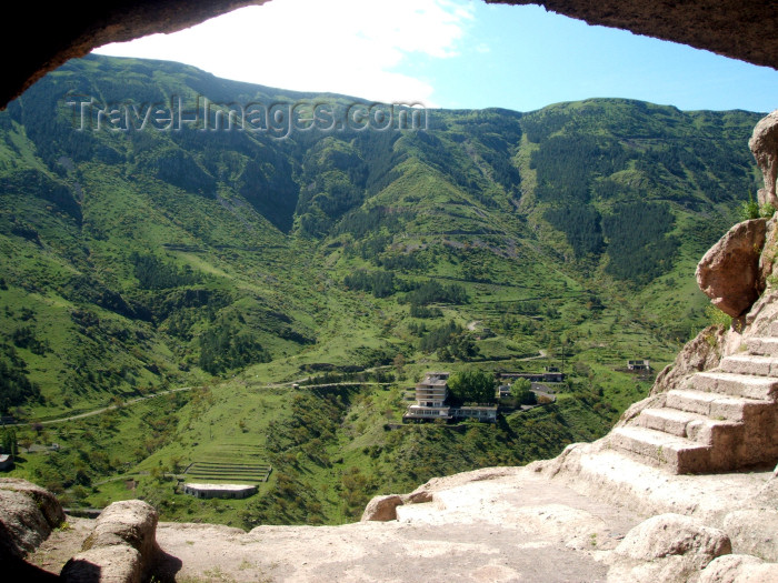 georgia107: Georgia - Vardzia - Samtskhe-Javakheti region: Medieval cave city - view towards the valley - photo by L.McKay - (c) Travel-Images.com - Stock Photography agency - Image Bank