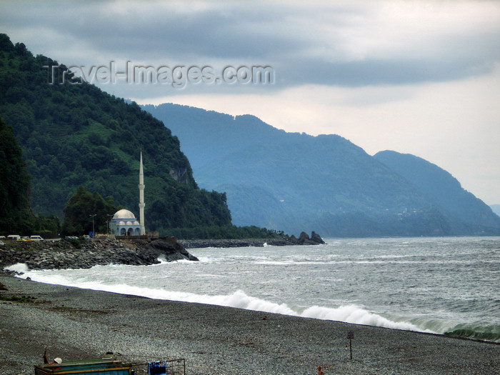 georgia139: Georgia - Sarpi, Ajaria: on the Turkish border - the beach is in Ajaria while the Mosque is in Turkey - photo by S.Hovakimyan - (c) Travel-Images.com - Stock Photography agency - Image Bank