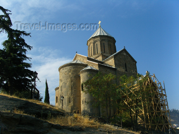 georgia171: Tbilisi, Georgia: Metekhi Cathedral seen from below - photo by N.Mahmudova - (c) Travel-Images.com - Stock Photography agency - Image Bank