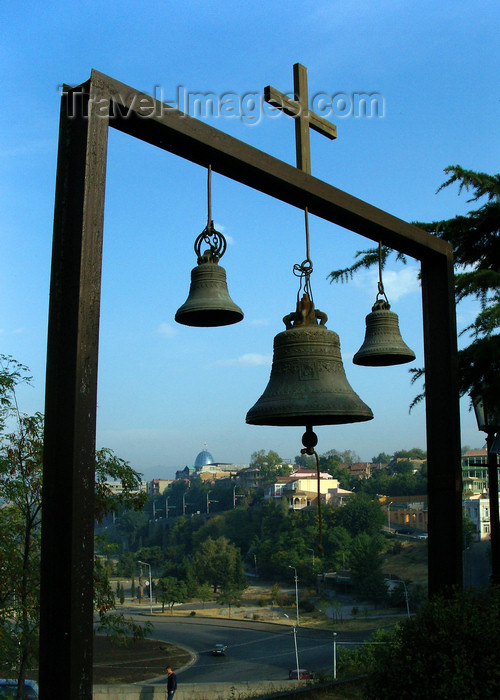 georgia175: Tbilisi, Georgia: bells and cross - photo by N.Mahmudova - (c) Travel-Images.com - Stock Photography agency - Image Bank