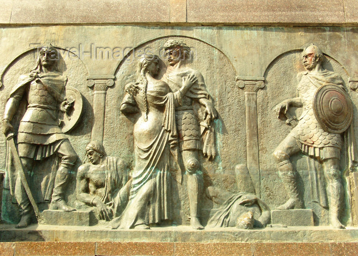 georgia180: Tbilisi, Georgia: base of Shota Rustaveli statue - Rustavelis Gamziri - photo by N.Mahmudova - (c) Travel-Images.com - Stock Photography agency - Image Bank