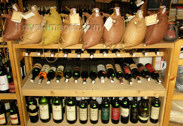 georgia185: Tbilisi, Georgia: Georgian wine, sold in bottles and wineskins - photo by N.Mahmudova - (c) Travel-Images.com - Stock Photography agency - Image Bank
