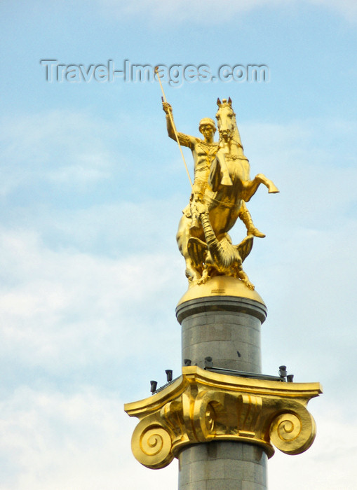 georgia186: Tbilisi, Georgia: Freedom Square - Saint George's column, Russian-Georgian sculptor Zurab Tsereteli - photo by N.Mahmudova - (c) Travel-Images.com - Stock Photography agency - Image Bank
